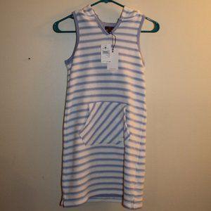 7FAM Blue White Striped Dress Large NWT